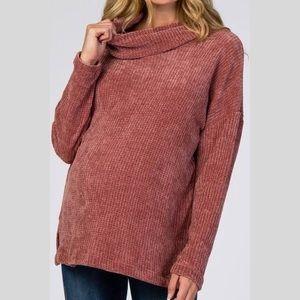 Pleione Mauve Chenille Cowl Neck Soft Sweater